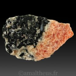 Diopside sur calcite orange