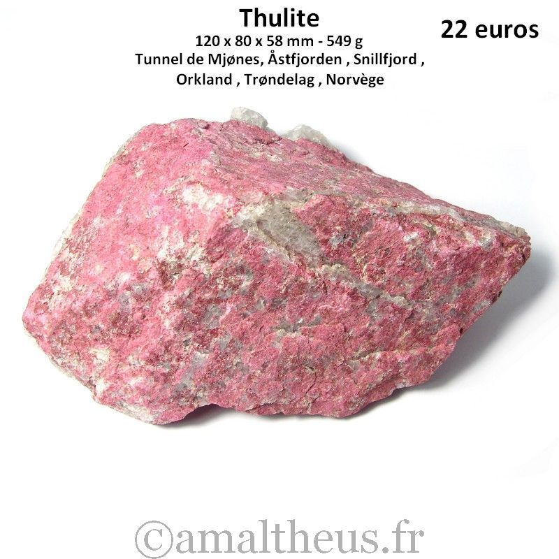 Thulite brute de Norvège