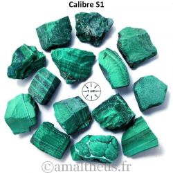 Malachite brute calibrée